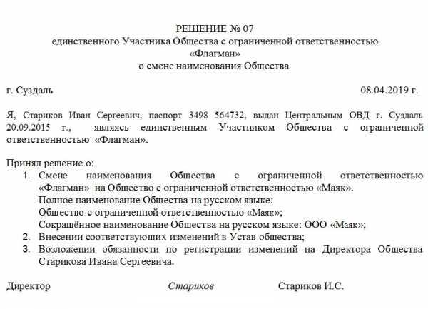 Решение протокол о регистрации устава ооо в новой редакции бланк регистрации ип 2019 скачать